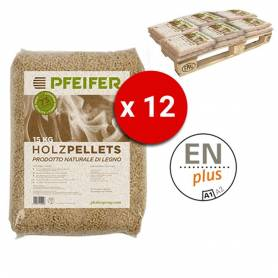 Pedana Pellet PFEIFER HOLZPELLETS bancali da 12 sacchi 15 Kg al pezzo certificato ENplus Prodotto Naturale di Legno