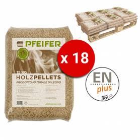 Pedana Pellet PFEIFER HOLZPELLETS bancali da 18 Sacchi 15 Kg al Pezzo Certificato ENplus Prodotto Naturale di legno