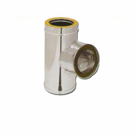 RACCORDO A TEE 90° DOPPIA PARETE ACCIAIO INOX 100-150 mm