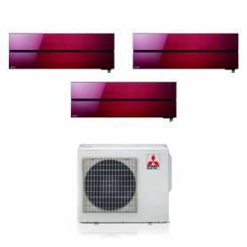 Condizionatore Mitsubishi Kirigamine Style rosso trial split con inverter da 9000+9000+12000 R32 in A+++ MXZ-3F68VF