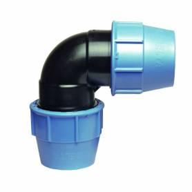 Raccordo a gomito 90 gradi a compressione PN16 per tubo polietilene
