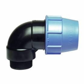 Raccordo gomito 90 gradi filettato maschio a compressione PN16 per tubo polietilene