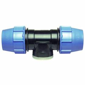 Raccordo TEE 90 gradi filettato femmina a compressione PN16 per tubo polietilene