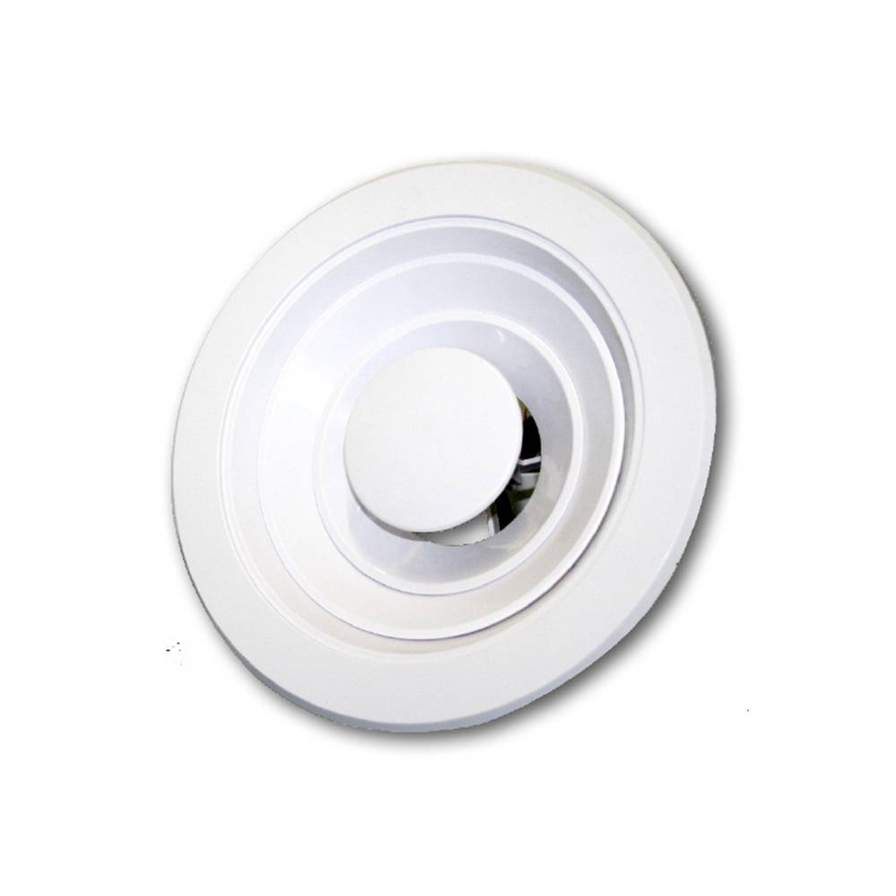 Diffusore circolare multicono Tecnosystemi regolabile in plastica ABS bianca a fissaggio rapido 150
