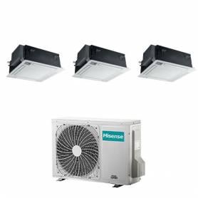 Condizionatore con inverter a cassetta 4 Vie Hisense trial split 9000+12000+12000 Btu in A++ con R32 3AMW72U4RFA