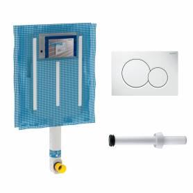 Kit Geberit cassetta di scarico incasso WC con placca bianca a due pulsanti Sigma 01 e canotto di collegamento