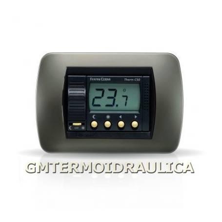 Termostato Ambiente Digitale Elettronico da Incasso Fantini Cosmi Modello C50 a Batteria con Display Regolatore Temperatura Coma