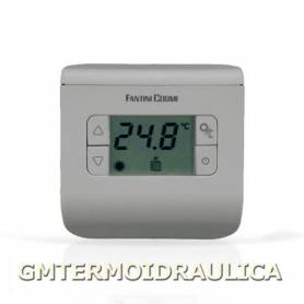 Termostato Ambiente Digitale Elettronico a Batteria Fantini Cosmi Modello Ch111 con Display Regolatore Temperatura Comando Caldaia Riscaldamento e Condizionamento Colore Silver