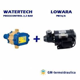 Elettropompa Periferica LOWARA PM 16 0,4 Hp 0,3 kW + Press Control WATERTECH 2,2 Bar