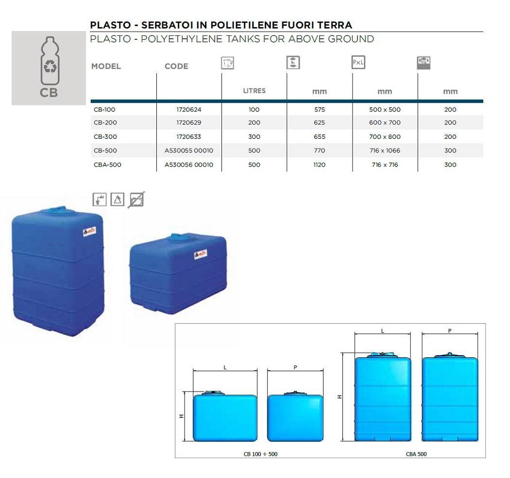 Serbatoio acqua in polietilene cubico elbi 300 lt cb 300 for Serbatoio di acqua calda in plastica